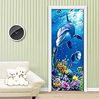 ドアステッカードアデカール3D デカール装飾イルカ動物ドアステッカー海景紙リビングルーム防水