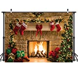 CYLYH 7x5ft Christmas Photography Backdrops Child Christmas Fireplace Decoration Background for Photo D087