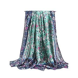 Women Silk Summer Scarfs, Satin Matching Mountain Flower Print Scarf, Large Long Lightweight Beach Gauze Shawl Wrap 35in