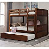 Full Over Full Bunk Bed for Kids Teens, Detachable Wood Full Bunk Bed Frame with Trundle