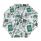 Ombrello da viaggio portatile antivento per auto con 3 pieghe e orologio da lettura per ombrellone...