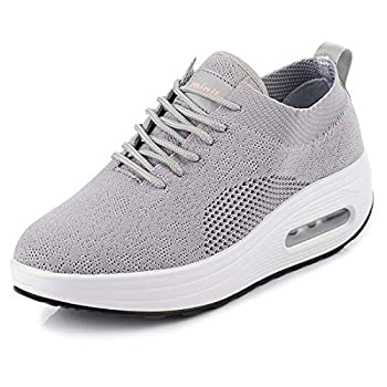 Women s Ladies Flying Woven Damping Sneaker Lightweight with Shallow Mouth Increased Shoes Air Cushion Sport Shoes  Gray 5.5-Women-US
