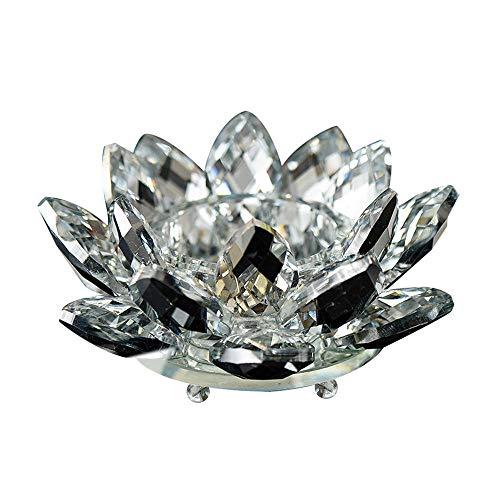 Wankd Lotus Kristall-Kerzenhalter, Kristallglas, Lotus-Kerzenhalter, Blumenkerze, Teelichthalter, kristall