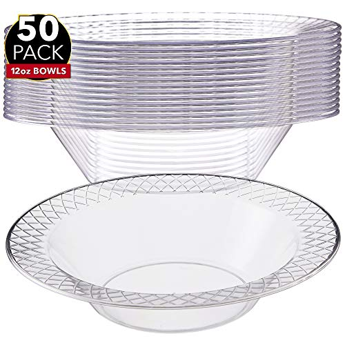 Clear Plastic Soup Bowls - 50 Pack - 12 oz. Disposable Party Bowl Dishes for Salad, Dinner, Dessert, Candy or Snacks - Great for Parties, Wedding and Holidays