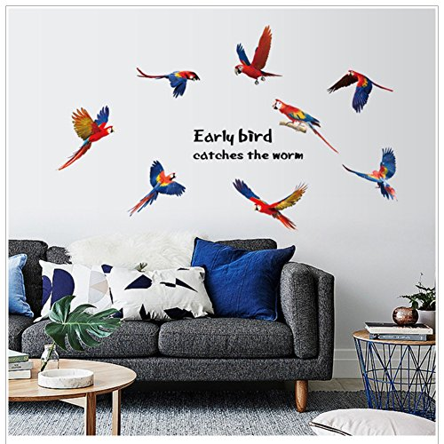 Shiningup - Adhesivo Decorativo para Pared, diseño de pájaro de Loro, Color Negro