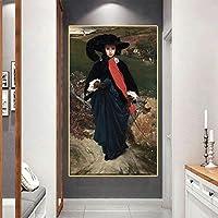 キャンバスプリントアート油絵フレデリックレイトン《メイサルトリスの肖像》アートポスター画像モダンウォールホームデコレーション30x40cmフレームレス