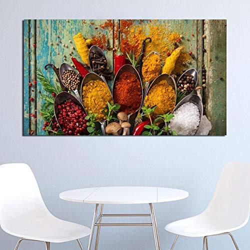 Geiqianjiumai Gewürz Getreide löffel leinwand Poster wandkunst Dekoration ölgemälde Lebensmittel Bild Moderne küche Dekoration Kunstwerk rahmenlose malerei 72x117 cm