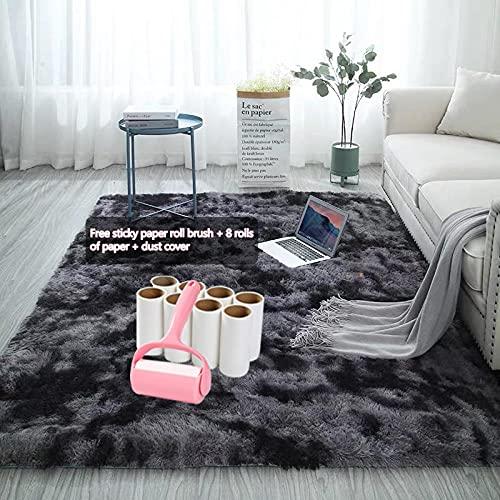 QXXKJDS Alfombra gris teñido suave alfombras para sala de estar, dormitorio, alfombra antideslizante de absorción de agua (color: A9, tamaño: 120 x 160 cm)