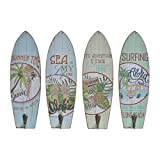 D,casa - Set 4 Cuadro de Pared Madera Perchero Vintage Surf Tropical Aloha 7x22 cm