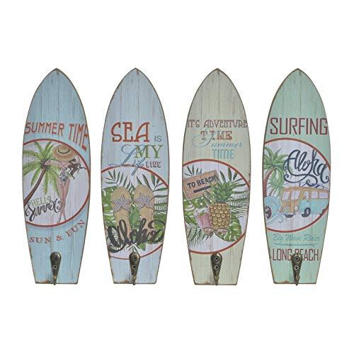 D,casa - Set 4 Cuadro de Pared Madera Perchero Vintage Surf Tropical Aloha 7x22 cm