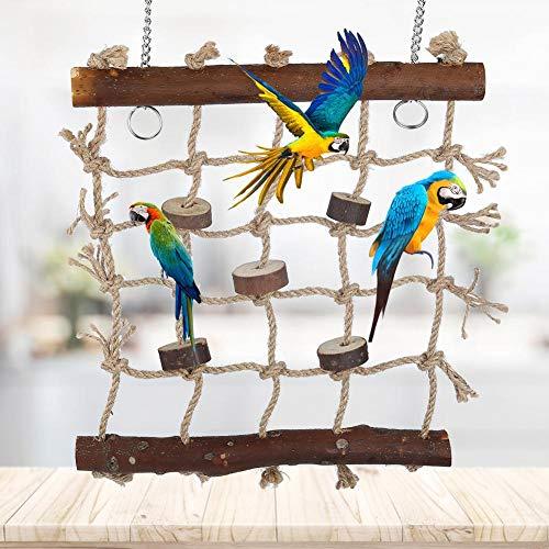 Hffheer vogel klimmen net hennep touw vogel klimmen ladder opknoping kooi kauwspeelgoed spelen Gym opknoping Swing net voor papegaaien, Budgies, parkieten, kakatielen, Conures, Macaws, liefdesvogels, vinken