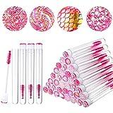 80 Pieces Disposable Mascara Brushes Tubes Set, 40 Pieces Diamond Empty Mascara Wand Tube with 40 Pieces Eyelash Brush Spoolies Makeup Tool for Eyelash Extension (Pink)