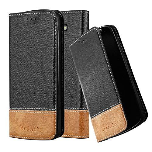 Cadorabo Hülle für LG G2 Mini - Hülle in SCHWARZ BRAUN – Handyhülle mit Standfunktion und Kartenfach aus Einer Kunstlederkombi - Case Cover Schutzhülle Etui Tasche Book