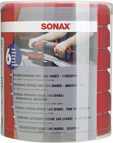 SONAX SchaumPad hart 160 -Six-Pack- (6 Stück) harter feinporiger Schwamm zum maschinellen Schleifpolieren von verkratzten und verwitterten Lacken | Art-Nr. 04939000
