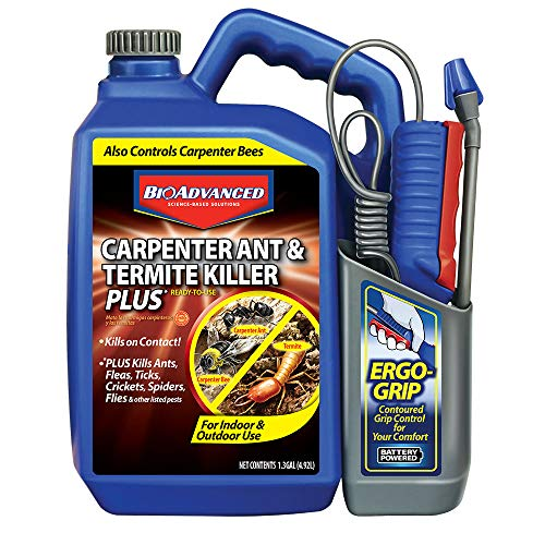 BioAdvanced 700335A Ant & Termite Killer Plus Carpenter Bee Pesticide, 1.3-Gallon, Ready-to-Use With Ergo Grip Sprayer