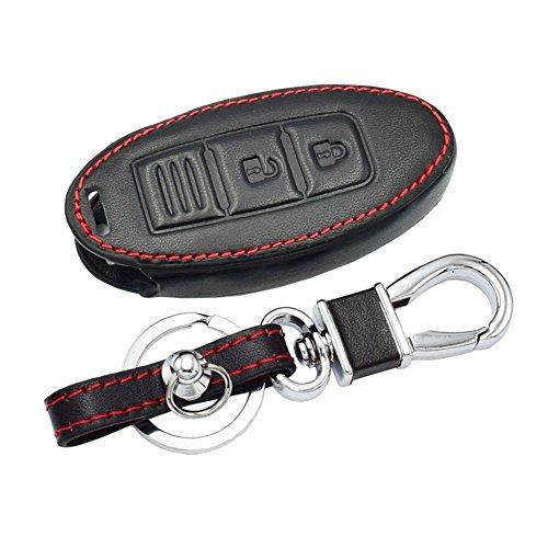Happyit Cas de Couverture de Clé de Voiture en Cuir pour Nissan 350Z Qashqai Kicks Tiida Pathfinder Murano Note Juke 3 Boutons
