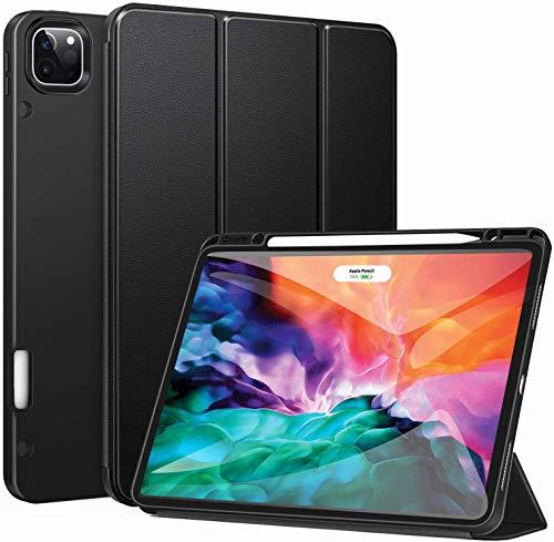 ZtotopCase - Custodia per iPad Pro 12.9 2020, ultra sottile con portapenne, funzione sleep/wake automatica, per iPad Pro 12.9 2020 4th Gen, colore: Nero
