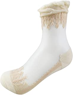 1 pair Women Lace Ruffle Frill Sheer Transparent Silk Elastic Mesh Ankle Socks