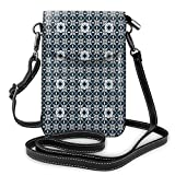 Women Small Cell Phone Purse Crossbody,Europe Azulejo Portuguese Mosaic Tiles Folkloric Cultural Heritage Spanish