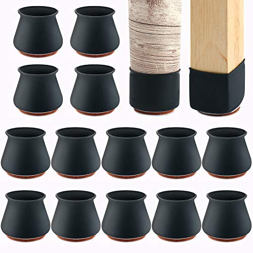 Upgraded Silicone Chair Leg Protectors with Felt for Hardwood Floors 24 PCS, mikede Elastic Leg Cover Pad for Protecting Floors from Scratches and Noise, Smooth Moving for Chair Feet (Black).