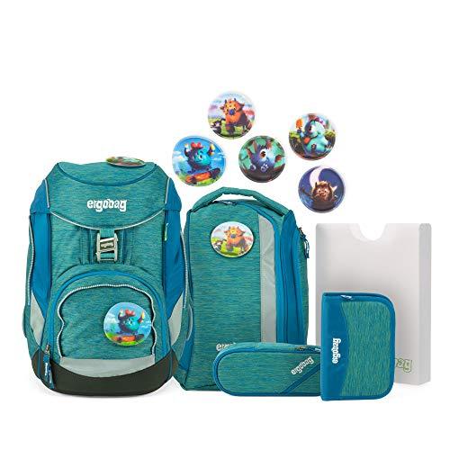 ergobag pack Set - ergonomischer Schulrucksack, Set 6-teilig, 20 Liter, 1.100 g - MonstBärfreunde - Blau