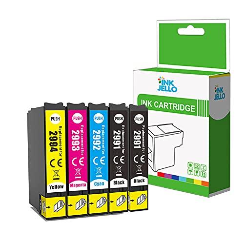 InkJello Inchiostro Cartuccia Sostituzione per Epson XP-455 XP-452 XP-445 XP-442 XP-435 XP-432 XP-355 XP-352 XP-345 XP-342 XP-335 XP-332 XP-257 XP-255 XP-247 XP-245 XP-235T2996(BK/C/M/Y, 5-Pack)