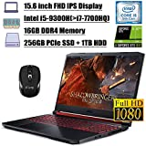 2020 Premium Acer Nitro 5 15 Gaming Laptop 15.6' Full HD IPS 9th Gen Intel 4-Core i5-9300H(Beats i7-7700HQ) 16GB DDR4 256GB PCIe SSD 1TB HDD 4GB GTX 1650 Backlit KB Win 10 + iCarp Wireless Mouse
