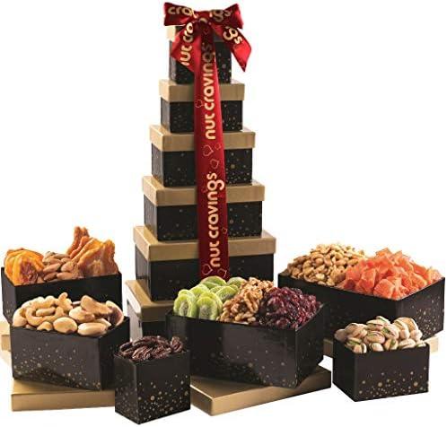 Gourmet Dried Fruit Nut Gift Basket Red Ribbon Tower 12 Mix Easter Food Arrangement Platter product image