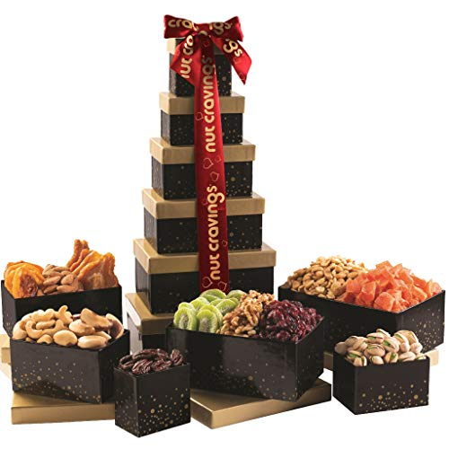 Dried Fruit & Nut Gift Basket, Black Tower + Red Ribbon (12 Piece Assortment) - Rosh Hashanah Arrangement Platter, Care Package Variety, Healthy Food Kosher Snack Box for Families, Women, Men, Adults