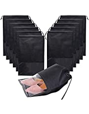 Minelife 12 Pcs Large Travel Storage Shoe Bag, Waterproof Shoe Bags for Gym Traveling, Shoe Pouch Organizer Non-Woven with Rope for Men and Women(Black)