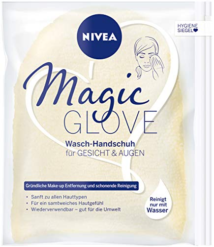 Nivea Magic Glove Washandschoen voor gezicht en ogen, voor gezichtsreiniging zonder wasgel of zeep, reinigingshandschoen reinigt zacht gezicht en ooggebied