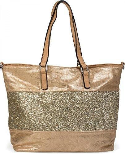 styleBREAKER edle Schultertasche Handtasche mit Pailletten Streifen und Metallic Optik, Shopper, Tasche, Damen 02012156, Farbe:Antik-Gold