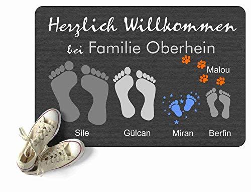 Fußmatte Füße Pfoten Teppich mit Vor- & Familien Namen grau anthrazit Geschenk Hund Katze Umzug personalisiert Fußabdruck Idee aussen innen waschbar lustig