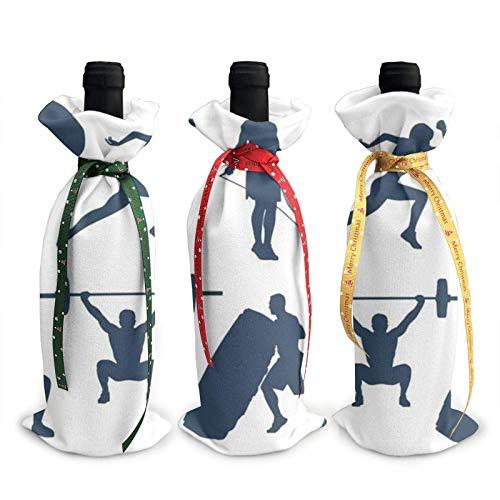 3pcs Weinflasche Cover Cover Taschen, Weihnachten Einkaufstasche für Hochzeit, Partybevorzugungen, Weihnachten, Urlaub und Wein Party Supplies