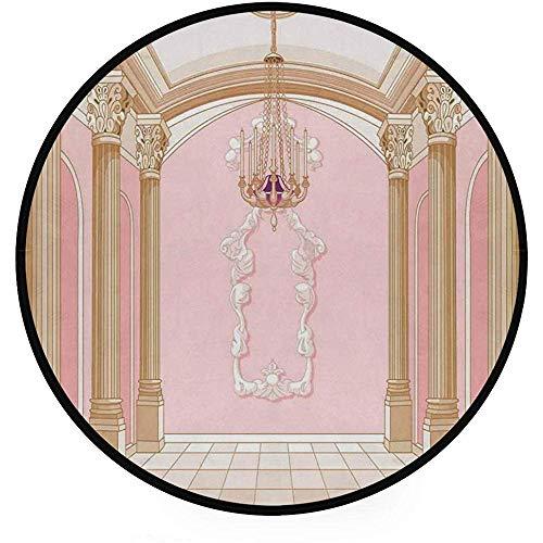 Liz Carter 60cm Superweicher, Leichter Teppich mit runder Oberfläche, Pinker Deckenschloss-Aufdruck mit Kronleuchter, Kreisteppich