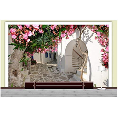 Fotobehang Fotobehang Thuis Santorini Bloemen Stad Behang Aangepaste 3D Foto Behang Natuur Landschap Muur Muren Slaapkamer Art Room Decor Koffie Hal
