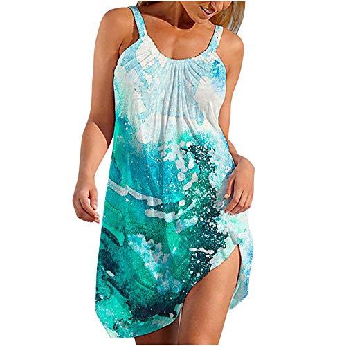 Tyoby Damen Kleider Mehrfarbig Sommerkleid High Waist Ärmelloses Sling Knielang Beach Kleid Minikleid Strandkleid Casual Mittellanges Kleid S-2XL