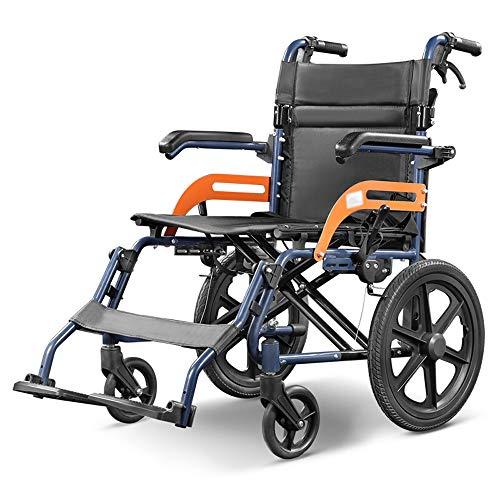 Silla de ruedas, Luz de aleación de aluminio Inicio Walker Movilidad de dispositivos, frenos delantero y trasero de la mano, puede ser abierta y cerrada apoyabrazos, el conjunto se puede plegar, portá