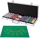 COSTWAY Set de Póker con 500 Fichas con 2 Naipes,5 Dados, 3 Fichas de Crupier y Mantel Juego Completo de Póquer con Estuche (Plata)