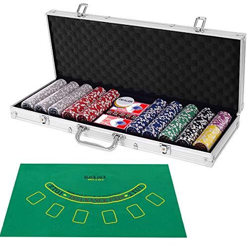 COSTWAY Mallette de Poker Coffret Professionnelle 500 Jetons 2 Jeux de Cartes, 5 Dés, 3 Boutons, 1 Tapis en Feutre Etui en Aluminium (Argent)