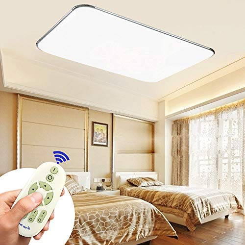 MIWOOHO 72W Moderno LED Regulable Ultraslim Lámpara De Techo Pasillo Salón Cocina Dormitorio De La Lámpara Ahorro De Energía De Luz De Plata [Clase de eficiencia energ ética A++] (72W Regulable)