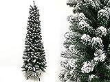 Megashopitalia Árbol de Navidad Slim de pino nevado, 180 cm, muy realista, apertura paraguas, 66 cm de diámetro (nevado)