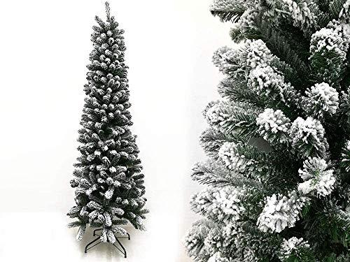 Megashopitalia Albero di Natale Slim Pino Innevato 180CM Superfolto Realistico Apertura Ombrello 66cm Diametro (Innevato)