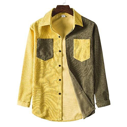 Camisas de Hombre, Camisas de Manga Larga clidas de Pana de otoo e Invierno, Camisas Gruesas de Solapa con Bloqueo de Color de Moda L