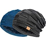 Vgogfly Slouchy Beanie for Men Winter Hats for Guys Cool Beanies Mens Lined Knit Warm Thick Skully Stocking Binie Hat Black Blue