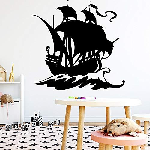 Yaonuli muursticker, exquisiet, schip, slaapkamer, stickers, afneembaar, zelfklevend, decoratie van het huis voor kinderen, wandaccessoires