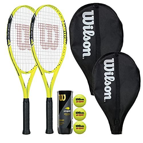 Dos raquetas de tenis Wilson Energy XL con fundas para la cabeza y 3 pelotas de tenis abiertas de Estados Unidos