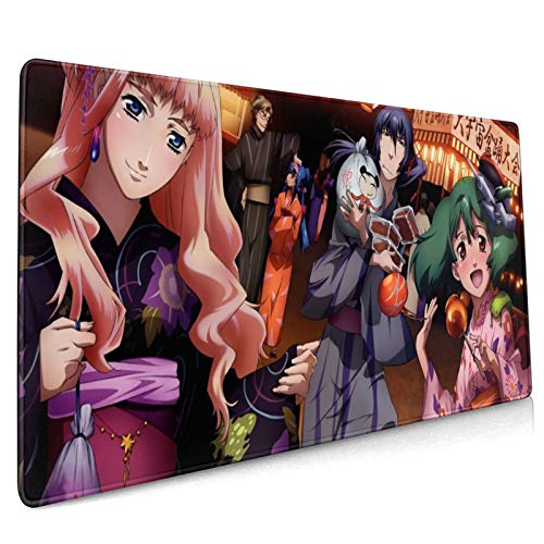 Asuuats Anime Macross Frontier Large Gaming Mouse Pad, with Non-Slip Rubber Base Mouse Pad 15.8 X 35.5 Inch, Stitched Edges Durable Desk Accessories