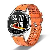 HCHL Ip68 wasserdichte Smartwatch, Fitness-Tracker, Bluetooth-Verbindung Voll-Touchscreen Sport-Fitnessuhr für Android Ios Smart Watch Men (Color : Orange)