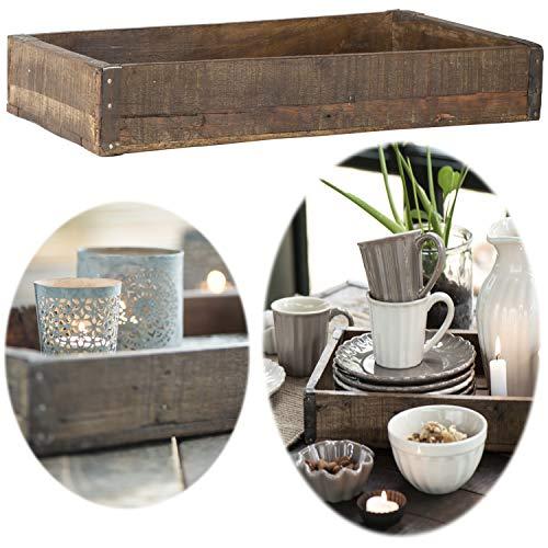 LS-LebenStil Holz Unika Aufbewahrung-Box 43x26x6cm Braun Servier-Tablett Ziegelform